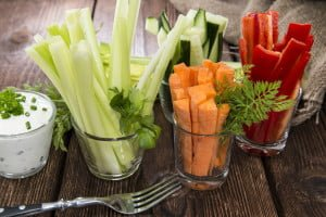 Crudites stripes (fresh diet food)